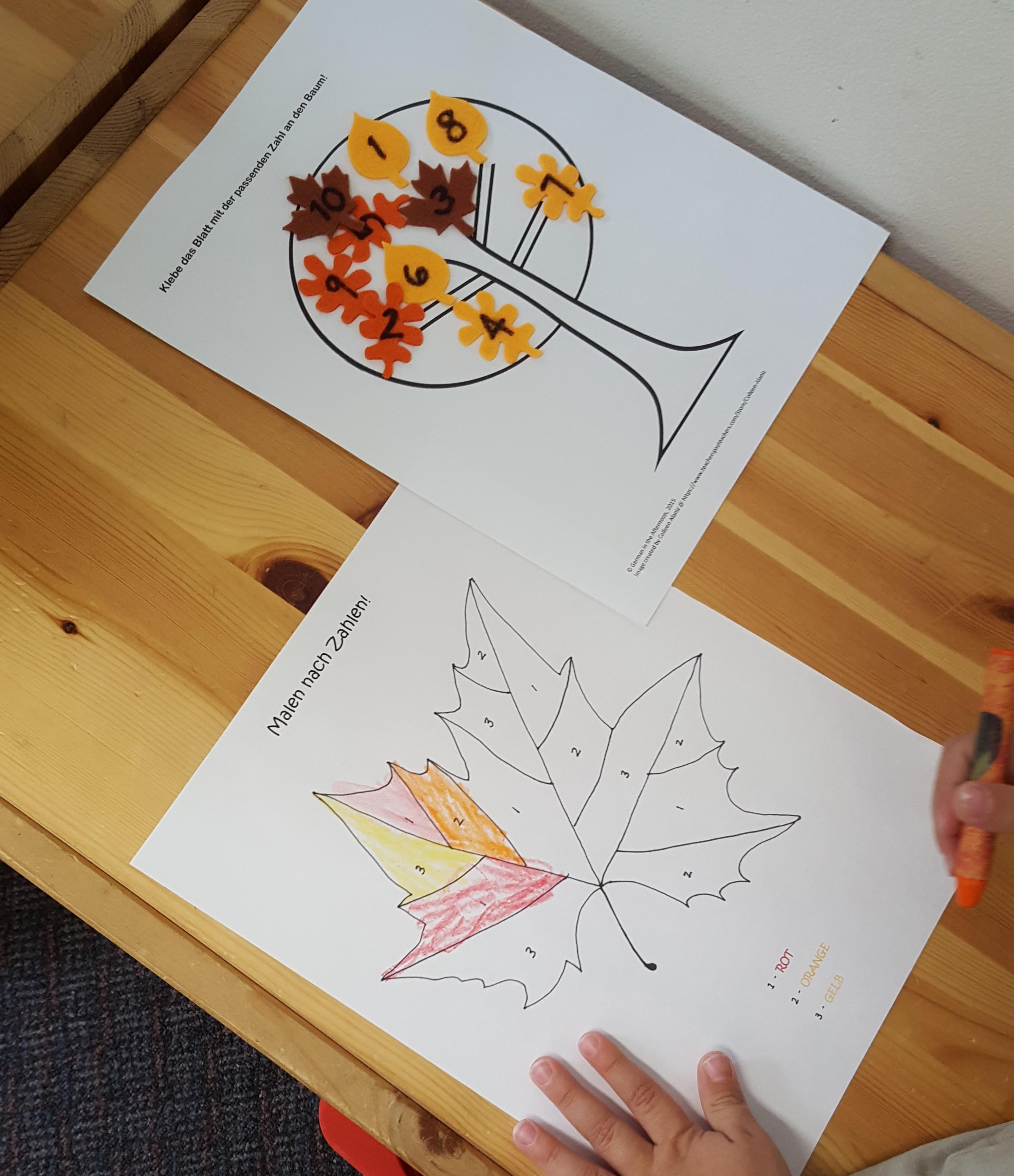 Herbst mit Zahlen und Farben | German in the Afternoon Activities