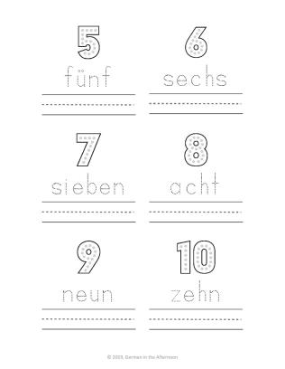 Trace the words in German 1-10-page-002